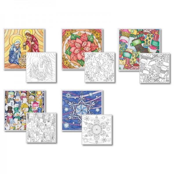 Grußkarten-Aufleger zum Kolorieren, Winter/Weihnacht, 14x14cm, 10 Stück