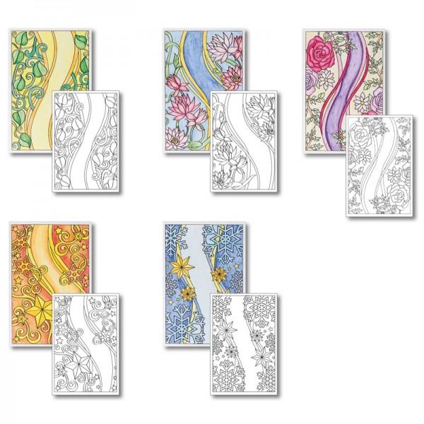 Grußkarten-Aufleger zum Kolorieren, Schwung-Designs, 15x10cm, 10 Stück