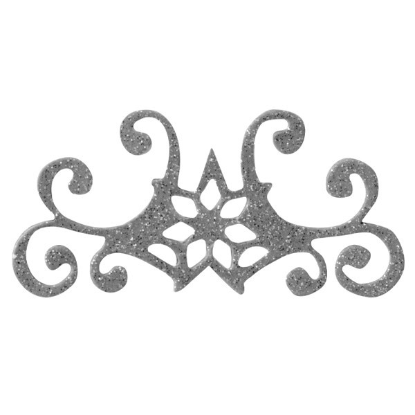 Glitzer-Ornamente, 25er Set, 3x7cm, Stern 4, silber