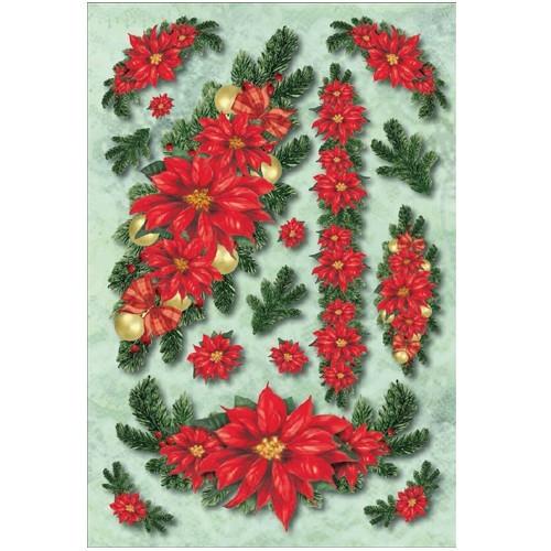 3-D Stickerbogen, Weihnachtssterne, 12,5 x 18,5 cm