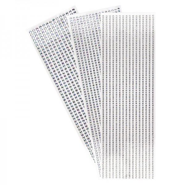 Schmuckstein-Bordüren, Ø 3mm, Ø 4mm, Ø 5mm, selbstklebend, facettiert, klar-irisierend, 3 Bogen