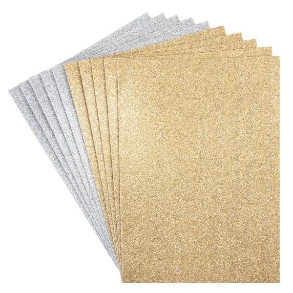 Moosgummi, selbstklebend, Glitzer 2, DIN A4, 2mm, gold & silber, 10 Bogen