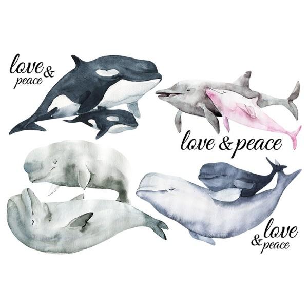 Color Bügeltransfers, DIN A4, Wale & Delfine