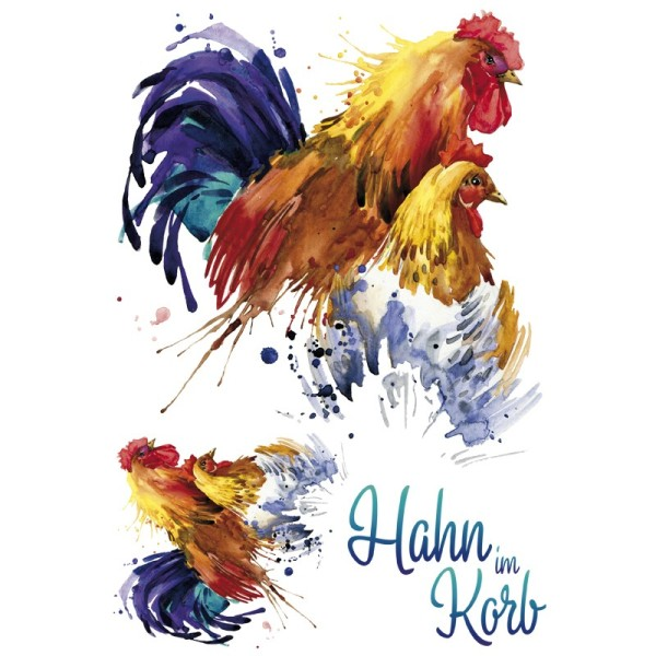 Color Bügeltransfer, DIN A4, Huhn & Hahn