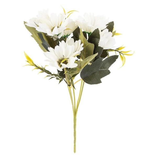 Blütenbusch, Margeriten, 28cm hoch, 10 große Blüten Ø 4cm, weiß