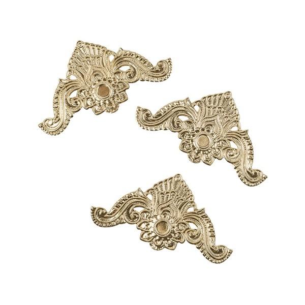 Metall-Ornamente, Design 12, 10,4cm x 5,6cm, hellgold, 3 Stück