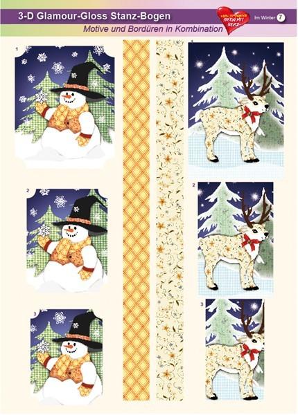 3-D GlamourGloss Bogen, Im Winter, DIN A4, Motiv 7