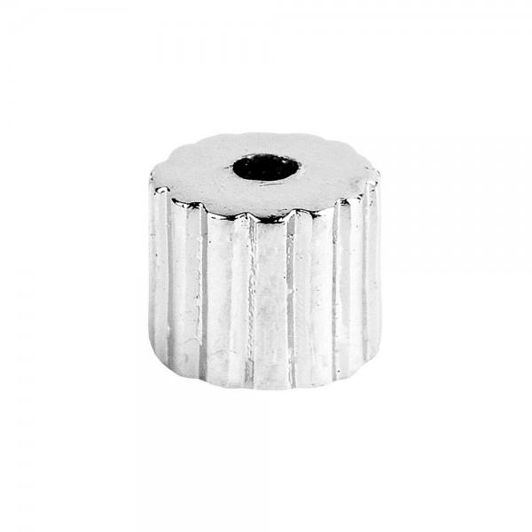 Perlen, Zylinder, geriffelt, 0,5cm x 0,6cm, silber, 370 Stück