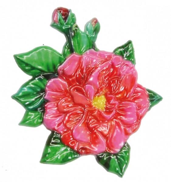 Wachsornament  Busch-Röschen, farbig, geprägt, 8,5 x 7 cm