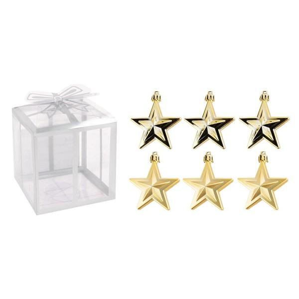 Baumschmuck, Sterne, 6cm x 2,8cm x 7,5cm, hellgold, zum Aufhängen, 6 Stück