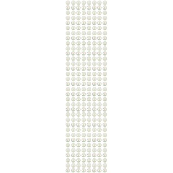 Halbperlen-Bordüren, selbstklebend, Ø8mm, 29cm, 8 Stück, creme-irisierend