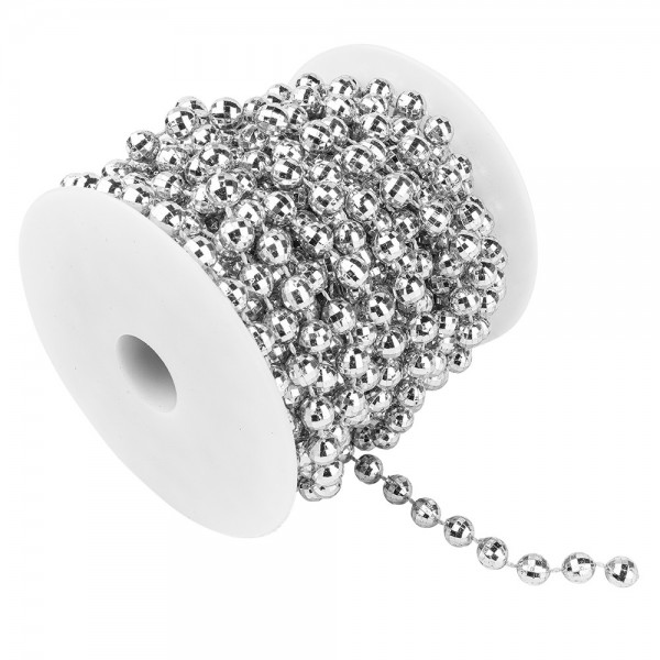 Perlen-Band, auf Rolle, 10m lang, facettierte Perlen; Ø 6mm, silber