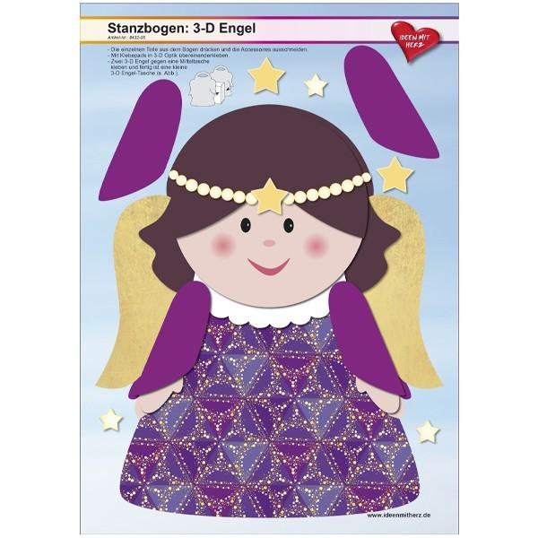 Stanzbogen, 3-D Engel, DIN A4, Design 5, 2er Set