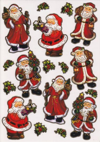 Ultra Gloss Sticker, DIN A4 Bogen, Weihnachtsmänner