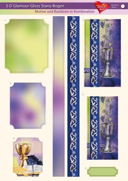 3-D GlamourGloss Bogen, kirchliche Motive, DIN A4, Motiv 1