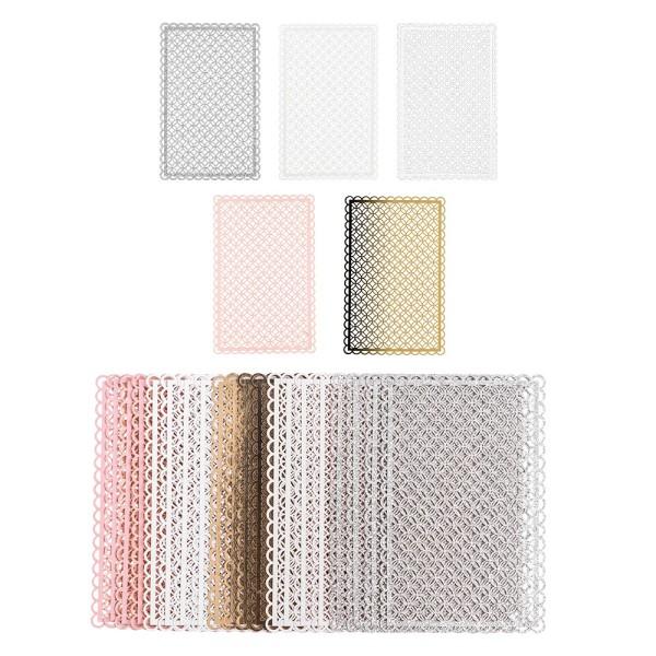 Laser-Kartenaufleger, Zierdeckchen, Ornament 7, 14cm x 9cm, 220 g/m², 5 Farbtöne, 20 Stück