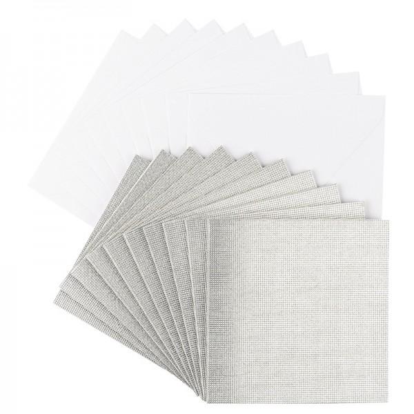 Grußkarten Glitzer-Leinen, 16cm x 16cm, silber, inkl. Umschläge, 10 Stück