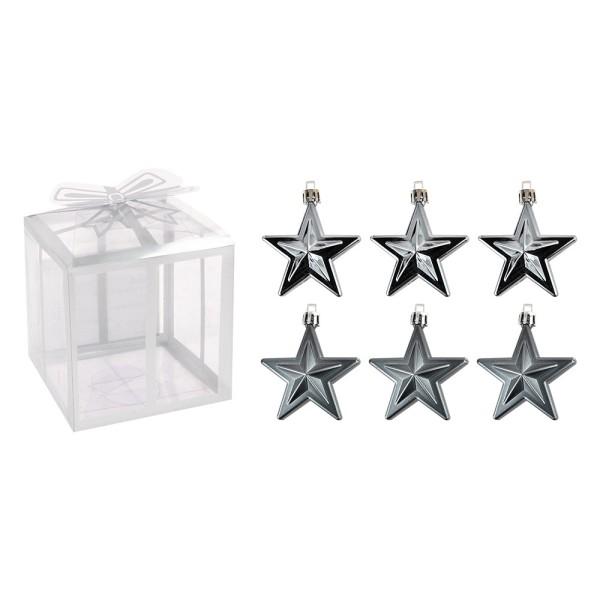 Baumschmuck, Sterne, 6cm x 2,8cm x 7,5cm, grau, zum Aufhängen, 6 Stück