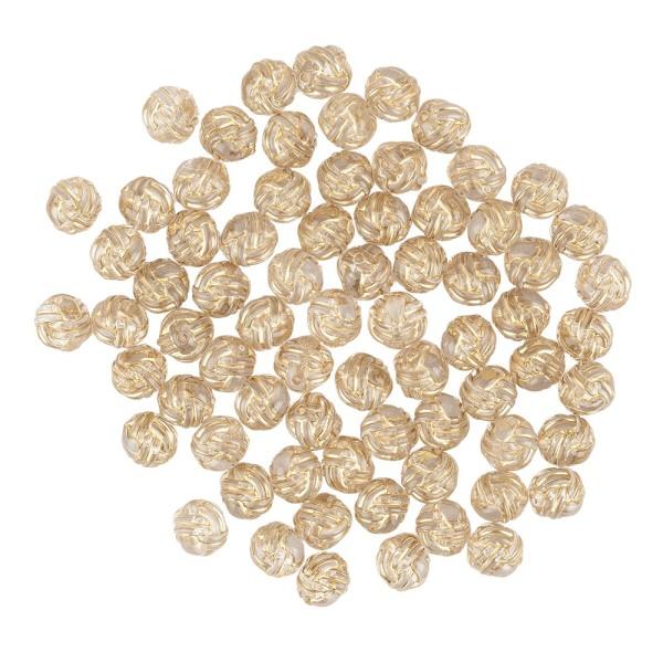 Perlen, Knoten, Ø1,1cm, klar-transparent, gold, 70 Stück