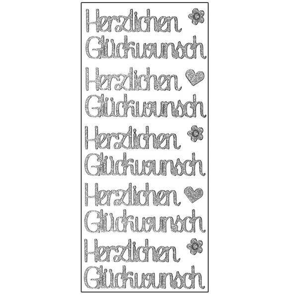 Microglitter-Sticker, Herzlichen Glückwunsch, silber