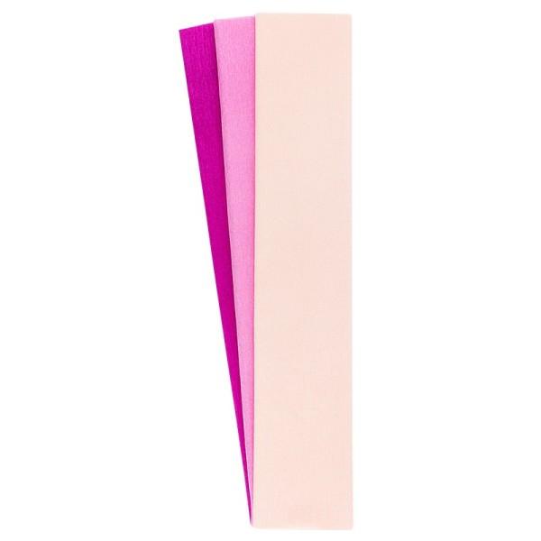 Krepp-Papiere, 50cm x 200cm, lachs, pink, fuchsia, 3 Stück