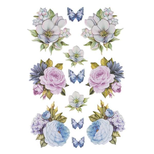 3-D Relief-Sticker, Blaue Blüten 3, verschiedene Größen, selbstklebend