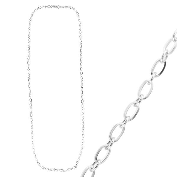 Glieder-Halskette, aus Edelstahl, Design 1, 60cm lang, Stärke: 3,5mm, silber