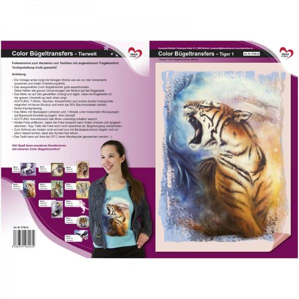 Color Bügeltransfers, DIN A4, Tierwelt, Tiger 1