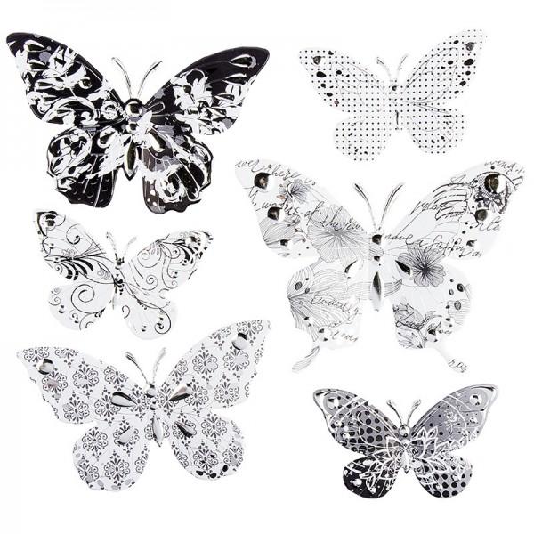 Pop-Up Relief-Sticker, Schmetterlinge, 19cm x 21cm, mit Silberfolienveredelung, 6 Sticker