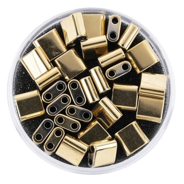 Hämatit-Perlen, Quadrat, 6mm x 6mm x 3mm, metallic-hellgold, 30 Stück