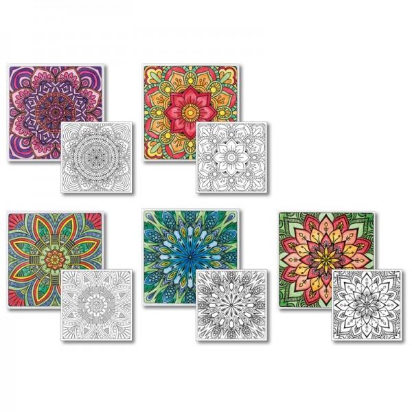 Grußkarten-Aufleger zum Kolorieren, Stern-Blüten, 14x14cm, 10 Stück