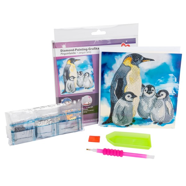 Diamond-Painting-Grußkarte, Pinguinfamilie, 16cm x 16cm, 370g/m², inkl. Umschlag & Werkzeug