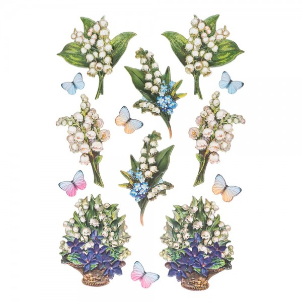 3-D Relief-Sticker, Zauberhafte Maiglöckchen 5, 21cm x 30cm, verschiedene Größen, selbstklebend