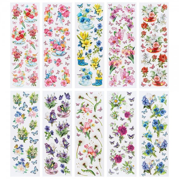 Aqua-Transfermotive Blütenträume, 10cm x 30cm, farbig, 10 Bogen