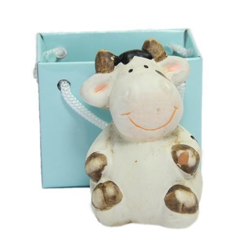 Deko-Kuh, Keramik, 6 cm, mit Lack-Täschchen
