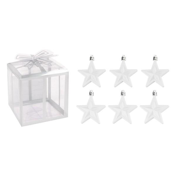 Baumschmuck, Sterne, 6cm x 2,8cm x 7,5cm, weiß, zum Aufhängen, 6 Stück