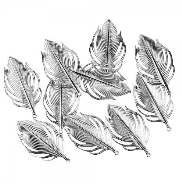 Metall-Ornamente, Blatt 1, 9,3cm x 5cm, silber, 10 Stück