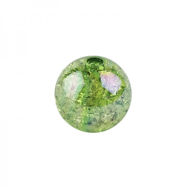 Perlen, Crackle, Ø 6mm, grün-irisierend, 150 Stk.