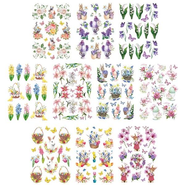 Transparent-Stickerbogen, Frühlingszauber, verschiedene Designs, mit Veredelung, DIN A4, 10 Bogen