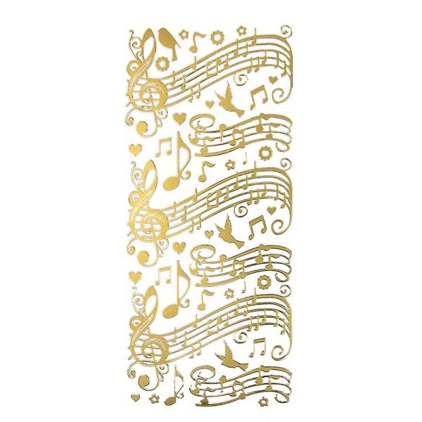 Sticker, Noten/Musik, Perlmuttfolie, gold