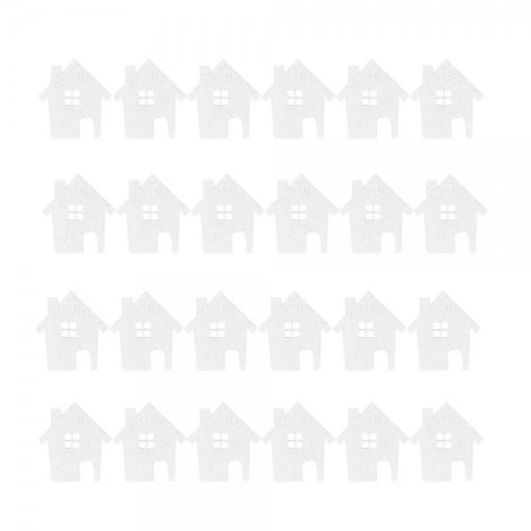 Streudeko, Häuser, 3,5cm x 3,8cm, 2mm stark, weiß mit irisierendem Glitzer, 24 Stück