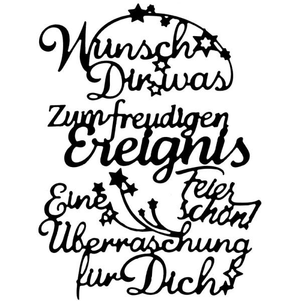 Stanzschablonen, Schriften, Glückwünsche 3, 4 Stück