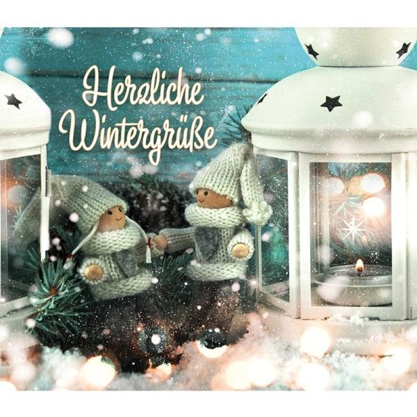 Zauberfolien, Herzliche Wintergrüße, Schrumpffolien für Ø 9 cm, 25 cm hoch, 2 Stück