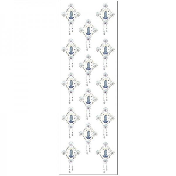 Kristallkunst, Broschen-Ornament 2, 10cm x 30cm, selbstklebend, klar irisierend