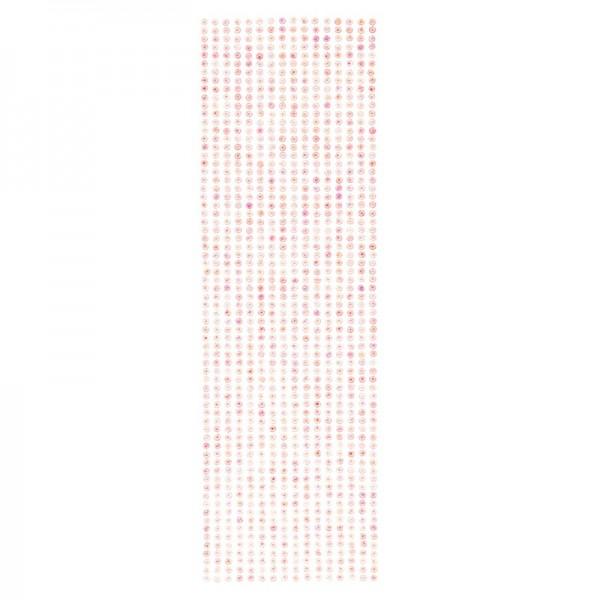Schmuckstein-Bordüren, selbstklebend, facettiert, irisierend, Ø4mm, 29cm, 16 Stück, rosa