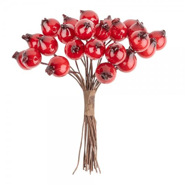 Deko-Zweige, Rote-Beeren, 10cm lang, am Draht, 24 Stück