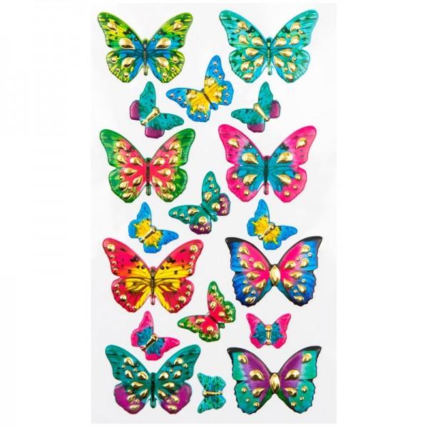 Chaton-Relief-Sticker, Schmetterlinge, 12,5 x 20,5 cm
