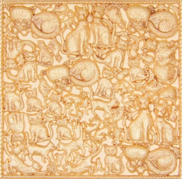 Wachsornament-Platte Katzen, 16 x 16 cm, perlmutt-creme