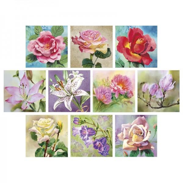 Relief-Bilder, Malerische Blumenmotive, geprägt, 7x7cm, 10er Set