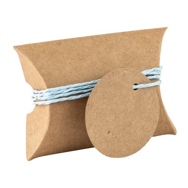 Kraftpapier-Kissentaschen, 6,5cm x 9cm, inkl. Anhänger & hellblaue Papierkordel, 50 Stück